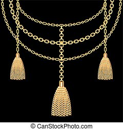 Background with golden metallic necklace. Tassels and chains. On black. Vector illustration