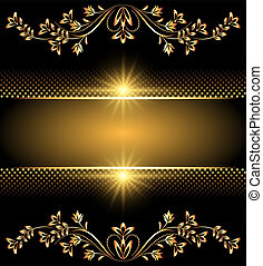 Background with golden ornament and glowing stars