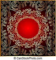 background with gold(en) ornament on red and black
