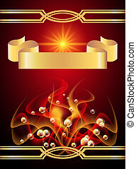 Background with golden ribbon and smoke