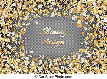 Background with golden stars of confetti