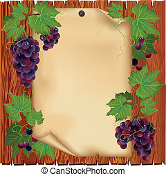 Background with black grape and old paper - place for text on wooden board