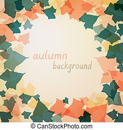 Background with green and orange leaves