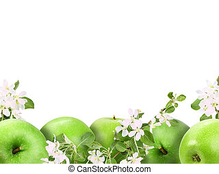 Background with green apples and flowers