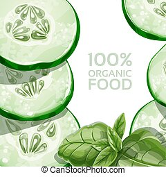 Background with green cucumber and basil