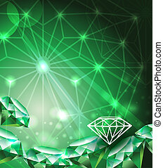 Background with green emerald