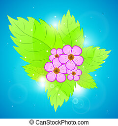 Background with green leaves and flowers.
