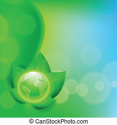 Background with green leaves and the globe