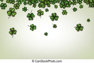 St. Patrick's day background with green three-leaved shamrocks. Vector illustration.