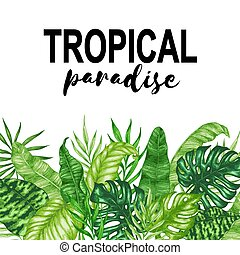 Background with green tropical leaves