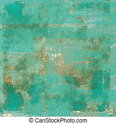 Background with grunge elements on vintage style old texture. With different color patterns: brown; green; blue; cyan; gray