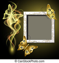 Background with grungy photo frame, butterflies and smoke ...