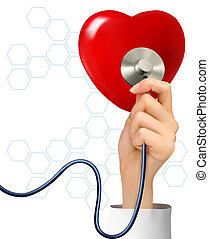 Background with hand holding a stethoscope against a heart. Vector.