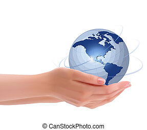 Background with hands holding globe