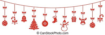Background with hanging christmas ornaments