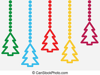 background with hanging christmas trees