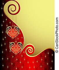 background with heart from gild and spiral