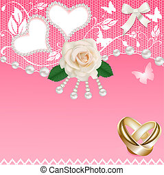 background with heart rose wedding rings and pearls
