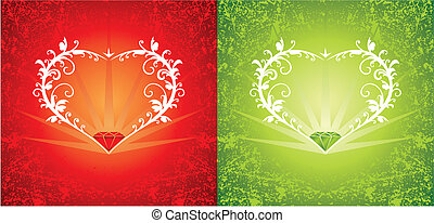 Background with heart-shape frame