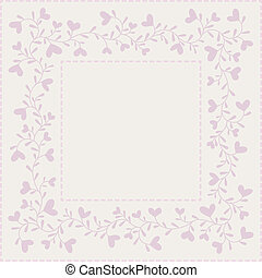 Background with hearts and frame