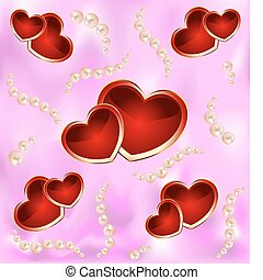 Background with hearts and pearls
