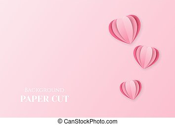Background with hearts in the style of paper cut. Valentine's day design, wedding, congratulations.