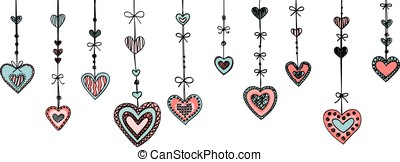 Background with hearts isolated on a white.