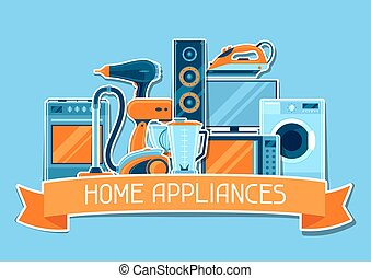 Background with home appliances. Household items for sale...
