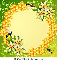 Background with honeycomb, honey jar and bees