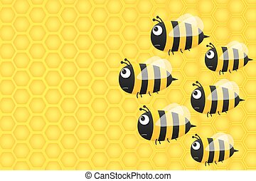Background with honeycombs and bees