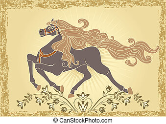 Background with horse and ornament