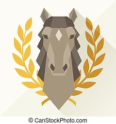 Background with horse head in flat style.