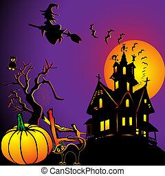 background with house by pumpkin and eagle owl