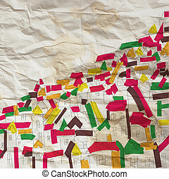 Background with houses on the paper texture