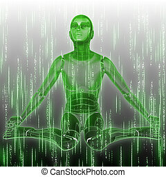Abstract matrix green background with humanoid and code streaming.