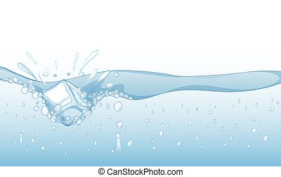 Background with ice cube splashing in water