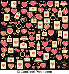 Background with icons and hearts. Vector illustration for Valentines day, wedding, celebration.