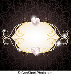 Background with jewelry frame for wedding or Valentines card