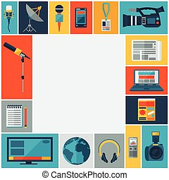 Background with journalism icons. Mass media and press conference concept symbols in flat style.