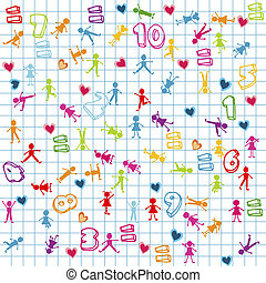 Background with kids and numbers on math page
