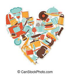 Background with kitchen and restaurant utensils stickers.