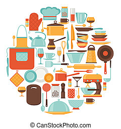 Background with kitchen and restaurant utensils icons.