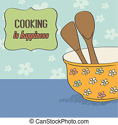 background with kitchen cooking wooden utensils storage pot, vector format