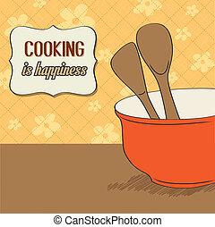 background with kitchen cooking wooden utensils storage pot,...