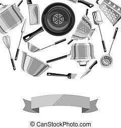 Background with kitchen utensils.
