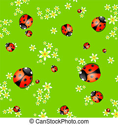 Background with lady bugs - Vector spring background with...