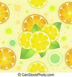 Background with lemon and orange