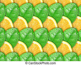 Background with lemon slices and green leaf