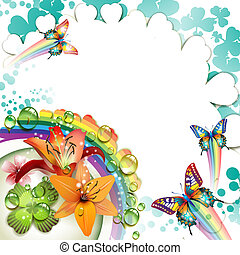 Background with lilies, butterflies and drops of water over rainbow
