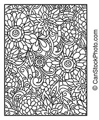 Background with line flowers for adult coloring page...